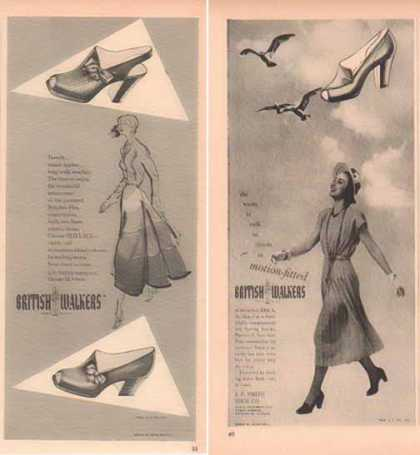 British Walkers Shoe Ads – Set of Two – Women Styles (1948)