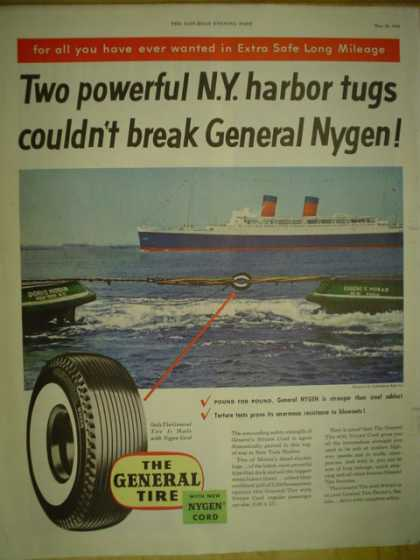 General Tire Two powerful NY Harbor Tugs couldn't break General Nygen (1954)
