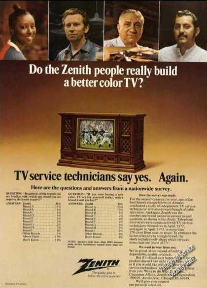 Zenith Color Tv Really Better Yes (1973)