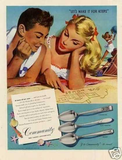 Community Silverplate Ad Whitcomb Art (1947)