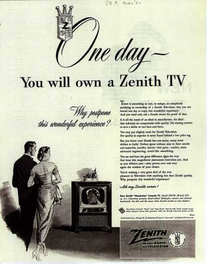 Zenith Radio and Television's Chesterton Console Television – One Day You will own a Zenith TV (1952)