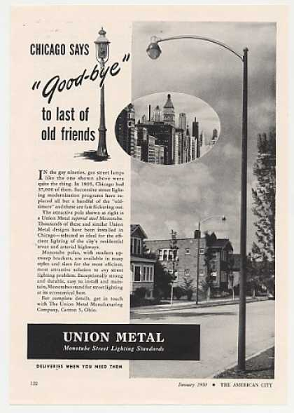 Union Metal Monotube Light Pole Chicago Photo (1950)