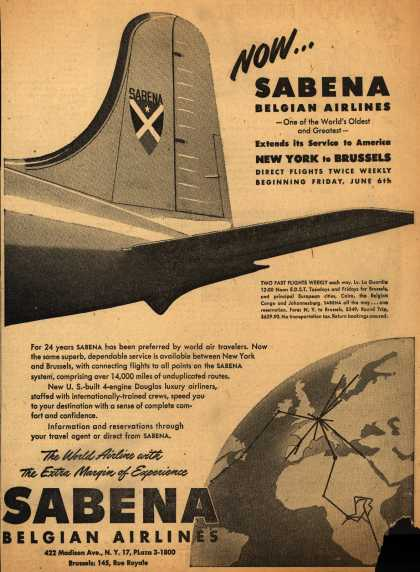 Sabena Belgian Airline's New York to Brussels – Now... Sabena Belgian Airlines (1947)