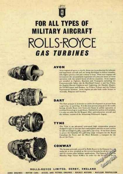 Rolls-royce Military Aircraft Gas Turbines Uk (1959)