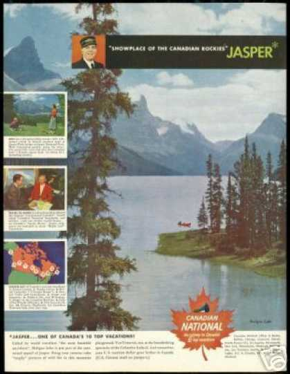Jasper Canada Rockies Maligne Lake Travel (1950)