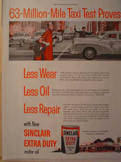 Sinclair Extra Duty Motor Oil 63 Million Mile Taxi test (1954)