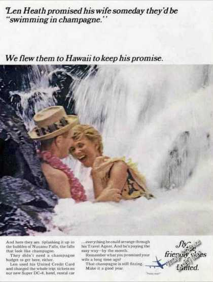 United Airlines To Hawaii Nuuanu Falls Photo (1967)