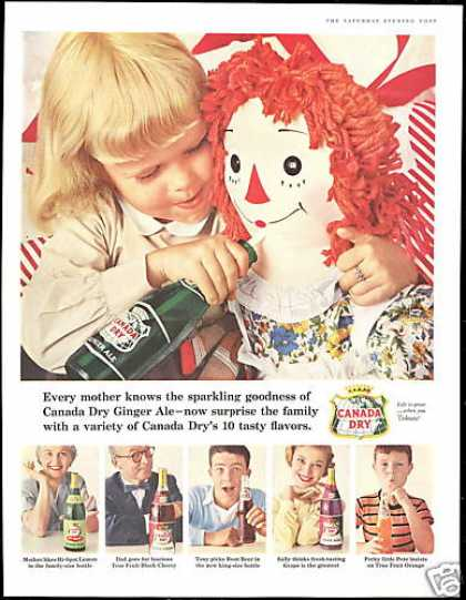 Big Raggedy Ann Doll Canada Dry Assorted Bottle (1956)