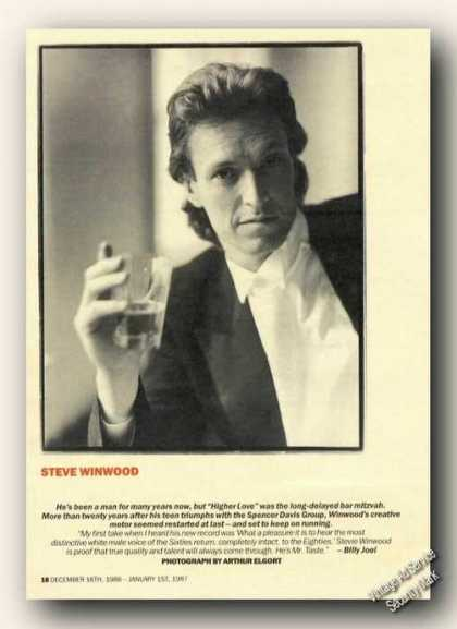 Steve Winwood Magazine Picture Print Feature (1986)