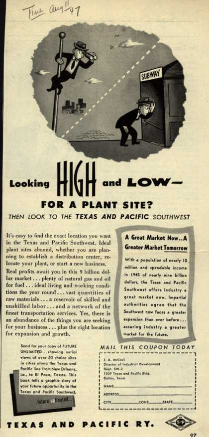 Texas and Pacific Railway's Industrial Southwest – Looking HIGH and LOW – For a Plant Site? Then Look to the Texas and Pacific Southwest (1947)