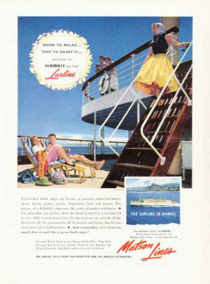 Matson Cruise Line Hawaii Lurline Ad Relax Deck (1955)