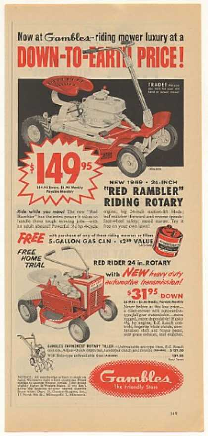 Gambles Red Rambler Rider Riding Mowers (1959)