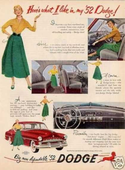 "Dodge Car Ad ""Here's What I Like... (1952)"
