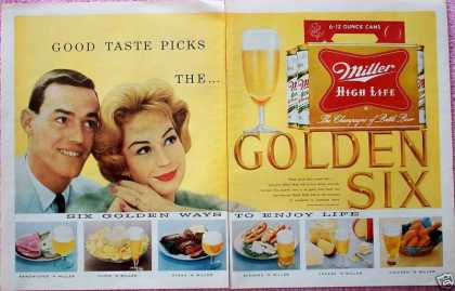 Miller High Life Beer Golden Six Happy Couple (1959)