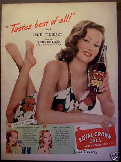Gene Tierney Royal Crown Cola Soda (1945)