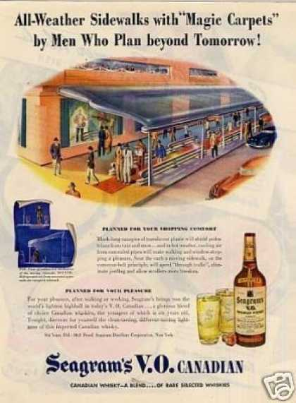 "Seagram's Vo Whiskey Ad ""All-weather Sidewalks... (1945)"