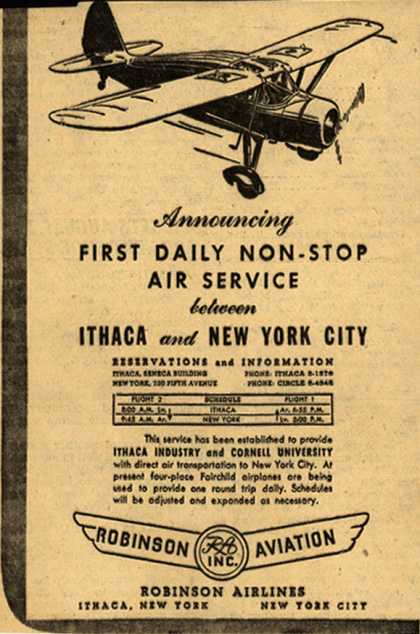 Robinson Aviation's Ithaca to New York – Announcing First Daily Non-Stop Air Service between Ithaca and New York City (1945)