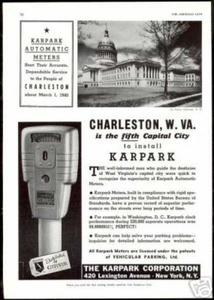 Charleston W Virginia Karpark Parking Meter (1940)