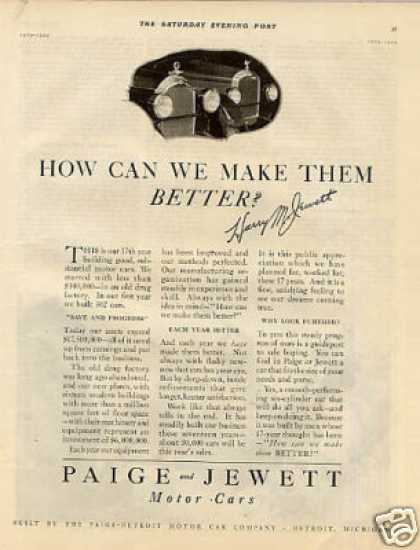 Paige & Jewett Cars (1925)