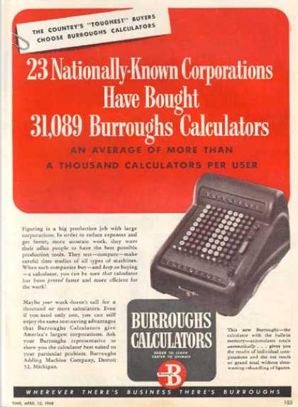 "Burroughs (""23 Nationally-Known Corporations have bought 31, 089 Burroughs Calculators"") (1948)"
