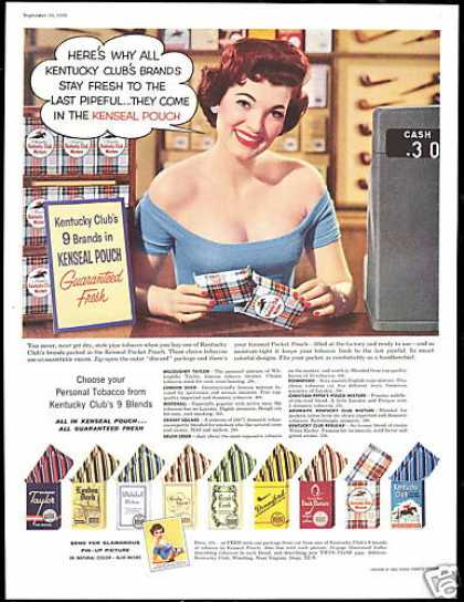 Pin up Girl Kentucky Club 9 Brands Tobacco (1956)