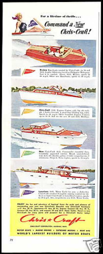 Chris Craft 4 Photo Boat Yacht Vintage (1952)
