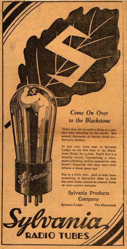 Sylvania Radio Tube's Radio Tubes – Come On Over to the Blackstone (1929)