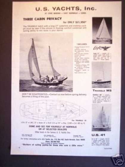 U.s. Yachts Triangle Ketch Sailboat Boat (1965)