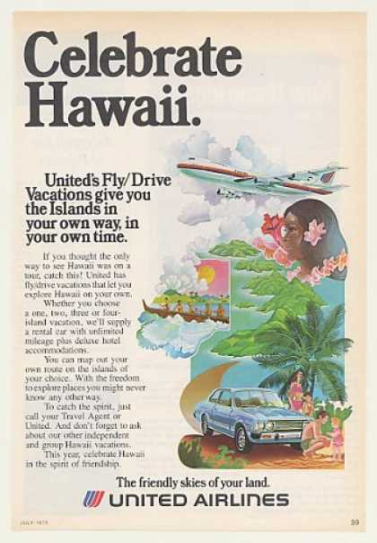 United Airlines Hawaii Fly Drive Vacations (1975)
