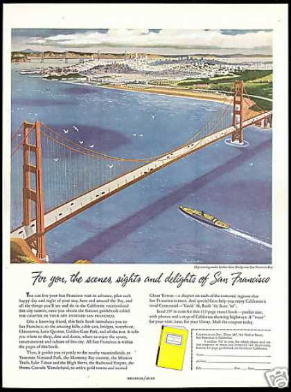 California Golden Gate Bridge SF Bay Travel Art (1949)