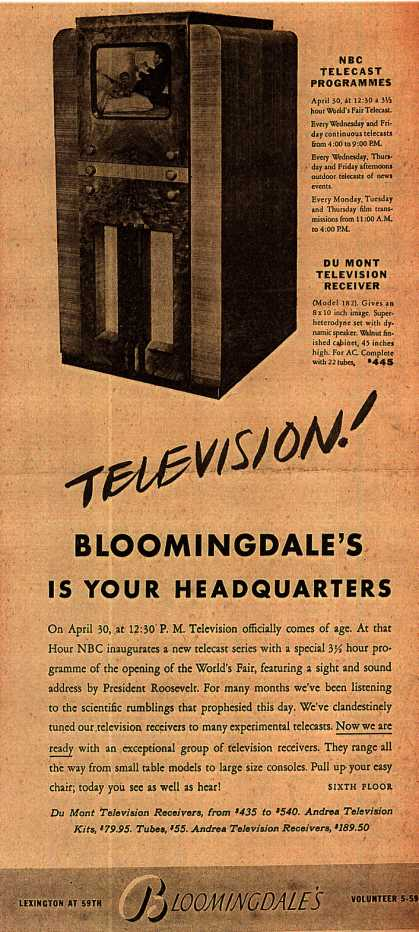 Bloomingdale's Television Receivers and Assembly Kits – Television! Bloomingdale's is your Headquarters (1939)