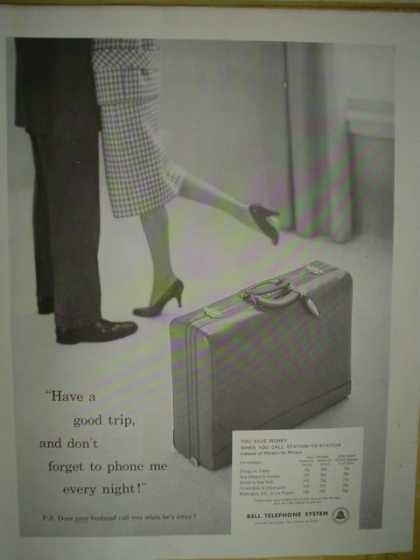 Bell Telephone System Have a good trip and don't forget to call me each night (1958)