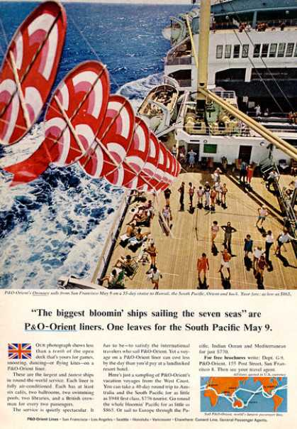 P&o Orient Cruise Liner Ship Decor Art (1964)