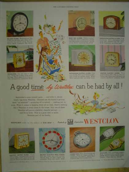 Westclox Clocks and watches. A good time had by all (1952)