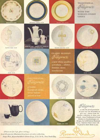 Rosenthal China 16 Patterns Shown (1957)