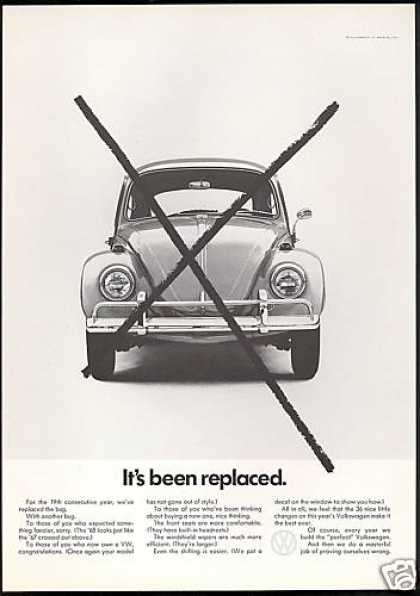 VW Volkswagen Bug Replaces With Another (1968)