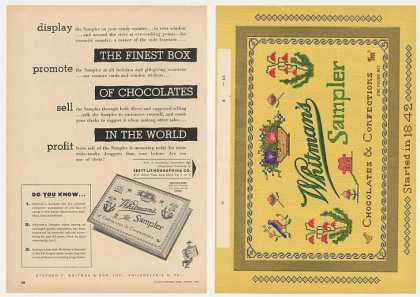 Whitman's Sampler Chocolate Lithograph 2P Trade (1954)