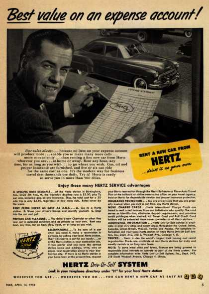 Hertz's rental price – Best value on an expense account (1952)