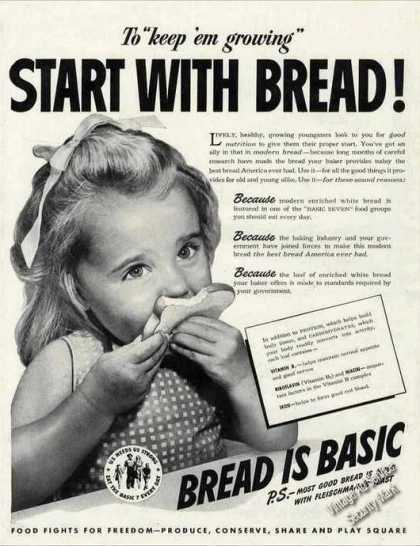"Start With Bread! ""Bread Is Basic"" Young Girl (1943)"