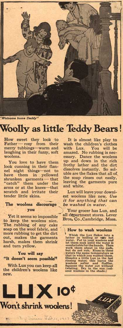 Lever Bros.&#8217;s Lux (laundry flakes) &#8211; Wooly as little Teddy Bears (1917)