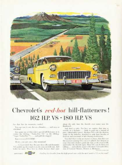 Chevrolet Chevy Ad Red Hot Hill Flattener (1955)