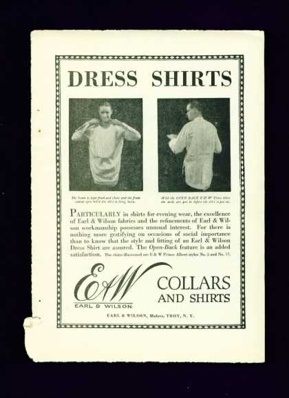 Earl & Wilson Collars and Shirts Dress Shirts C (1910)