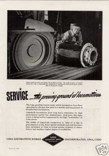 "Lima Locomotive Ad ""Service: The Proving Ground... (1943)"