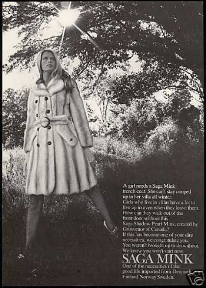 Saga Shadow Pearl Mink Fur Trench Coat (1969)