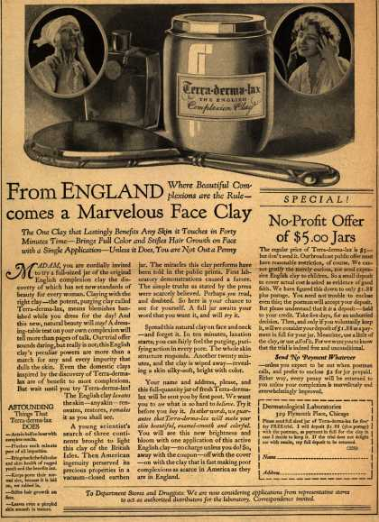 Dermatological Laboratorie's Terra-derma-lax – From England comes a Marvelous Face Clay (1922)