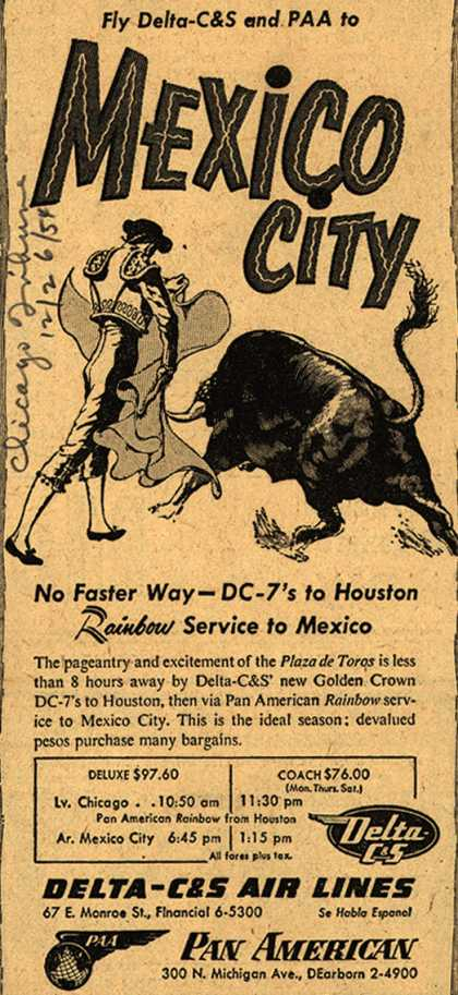 Delta-C & S Air Lines, Pan American's Mexico City – Fly Delta-C&S and PAA to Mexico City (1954)