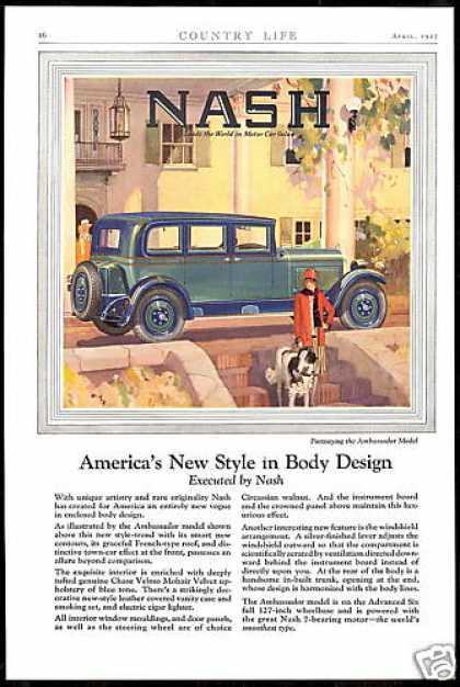 Nash Ambassador 4 Door Car Vintage Art (1927)