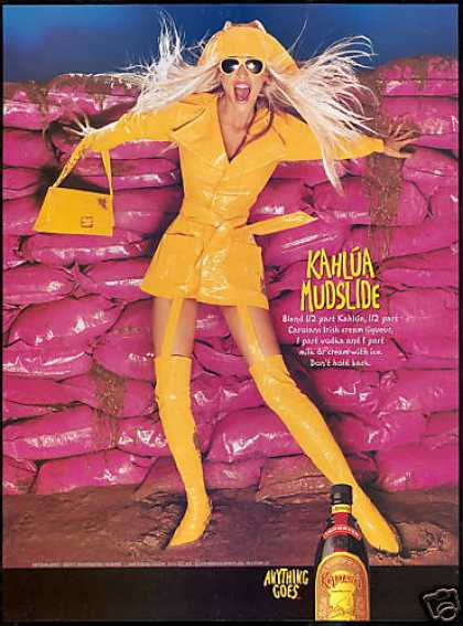 Kahlua Liqueur Sexy Blonde Yellow Coat Boots (2001)