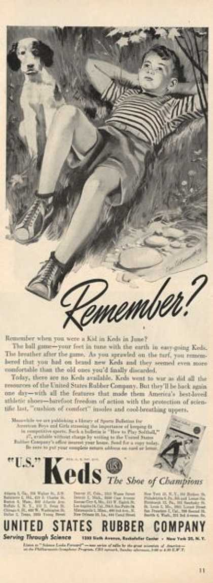 U.s. Us Keds Shoes Sneakers Dog Ad T (1945)