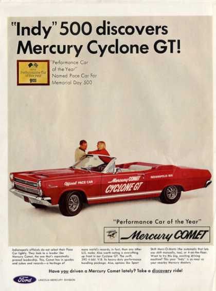 Ford Mercury Cyclone Gt Indy 500 Pace Car Ad T (1966)